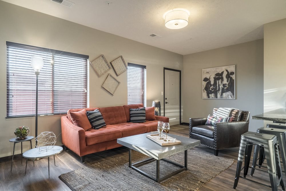 Living room with lots of natural lighting and modern light fixtures at The Villas at Mahoney Park