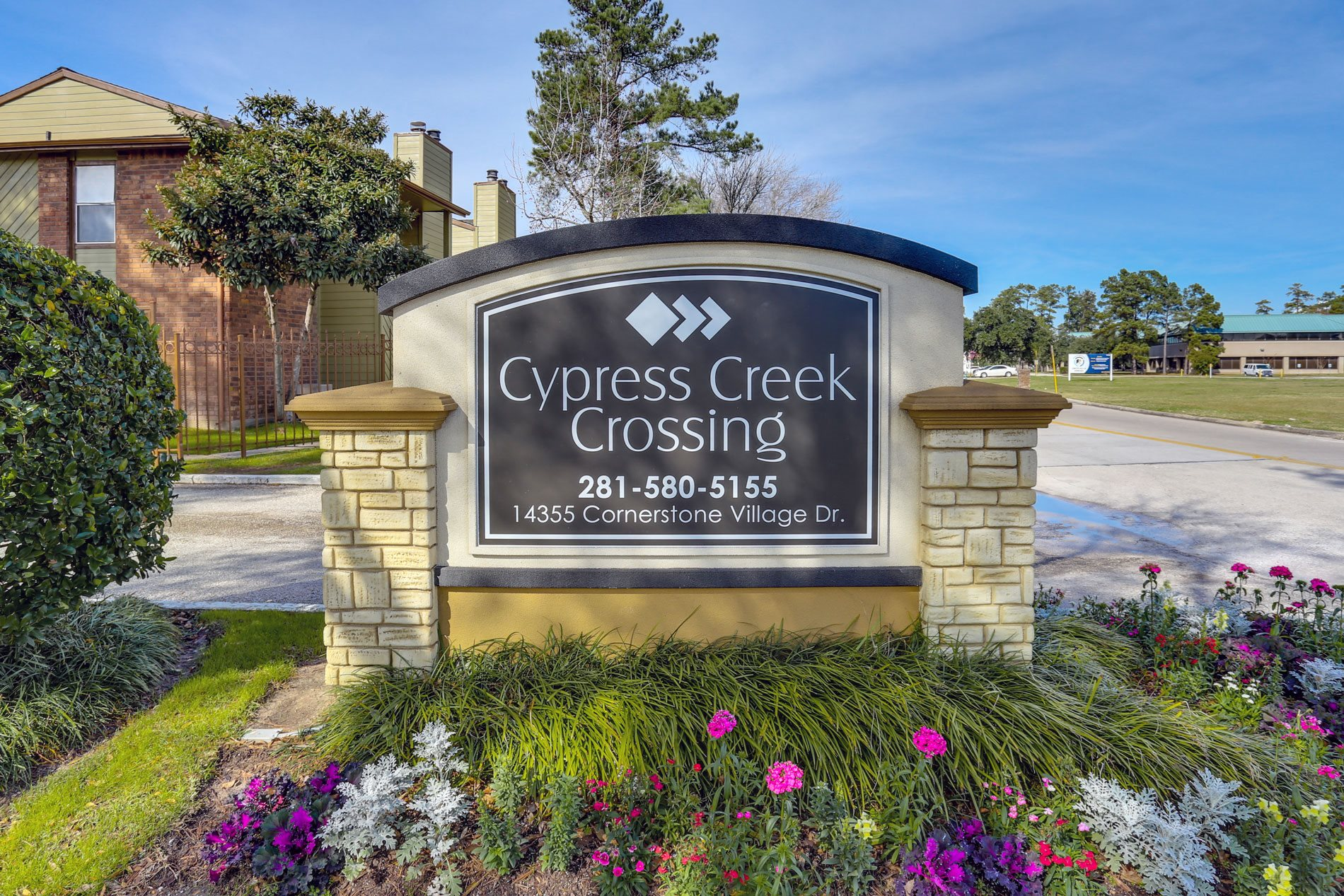Monument Sign at Cypress Creek Crossing Apartment Homes in Houston, Texas, TX