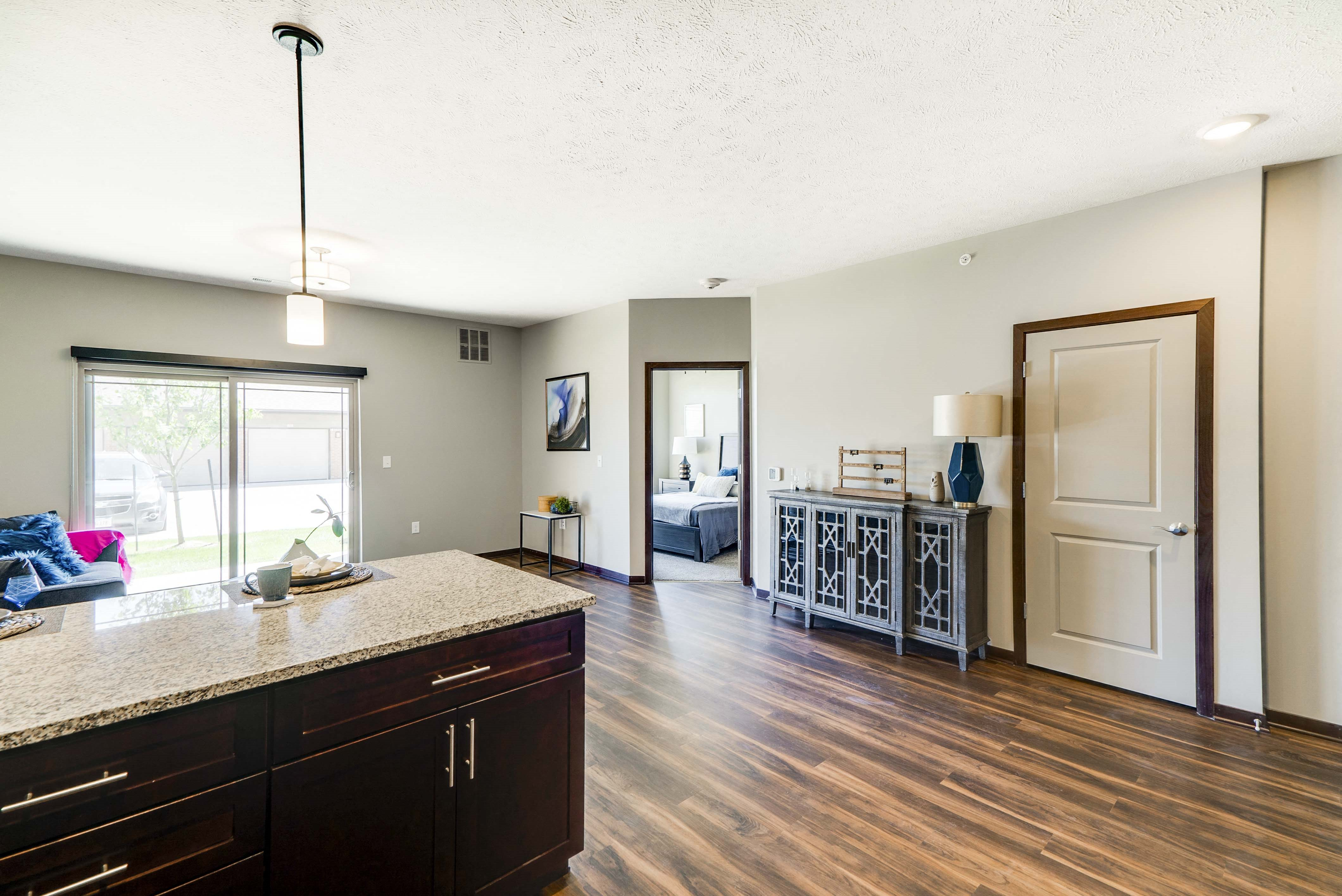 Spacious living room of 2 bedroom apartment for rent at 360 at Jordan West best new apartments West Des Moines IA 50266