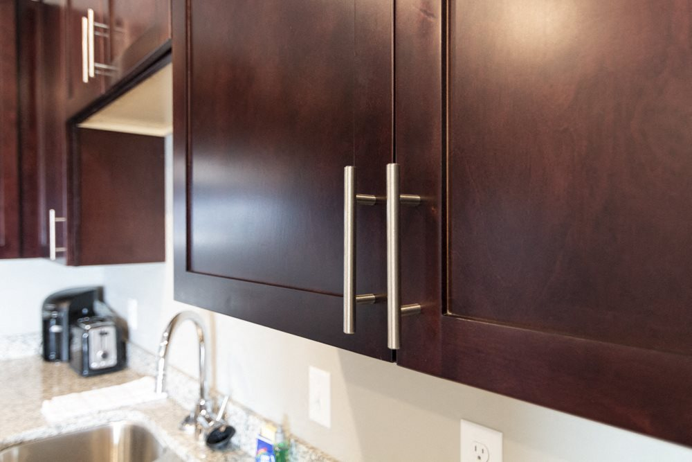 Modern, sleek hardware on cabinetry at 360 at Jordan West best new apartments West Des Moines IA 50266