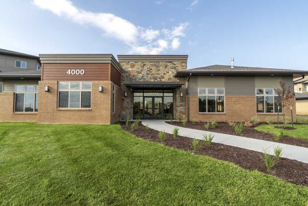 Exterior view of leasing office at 360 at Jordan West best new apartments West Des Moines IA 50266