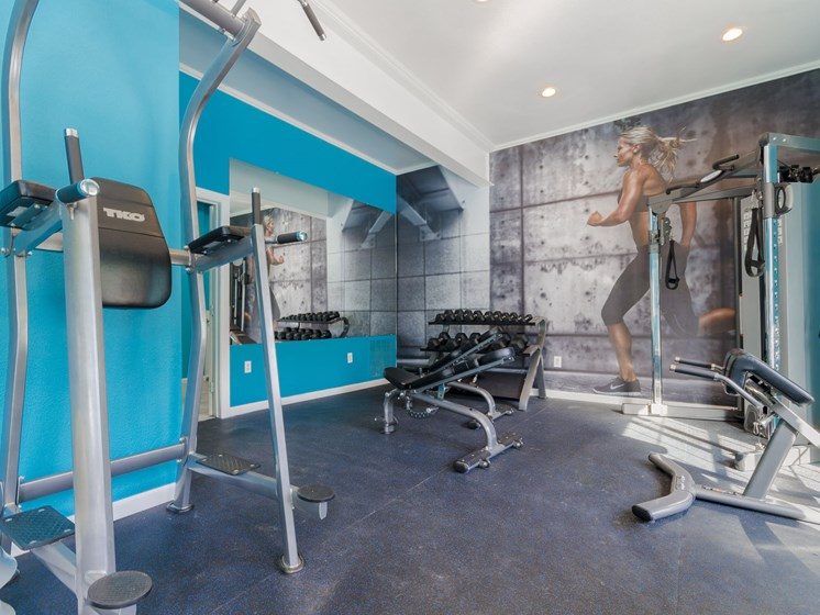 fitness center- free weights, weighted machines