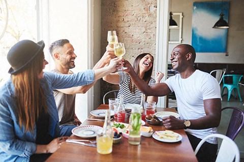 Friends Dining l l The Retro Apartments in Sacramento, CA