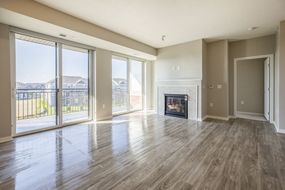Fireplace in premium design scheme at Ascend at Woodbury new luxury apartments in Woodbury MN 55129