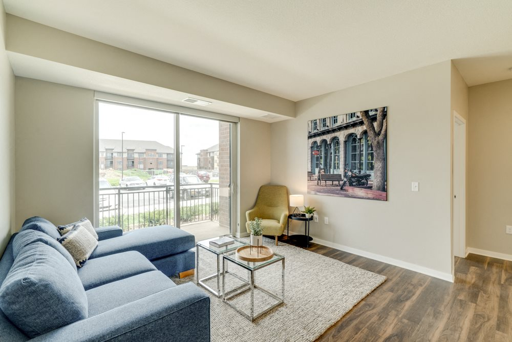 Living room of 2-bedroom apartment for rent at Ascend at Woodbury in MN