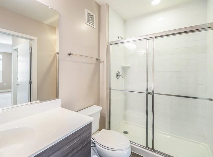 Bright, clean apartment bathrooms at Northgate