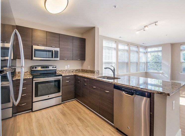 Northgate apartments feature kitchens with stainless steel appliances