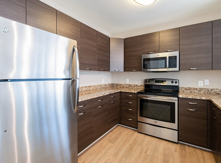 Northgate's apartment kitchens are fully equipped with stainless appliances