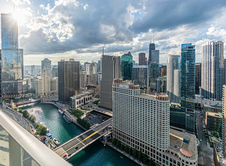 View from the balcony of an apartment at Coast in Chicago