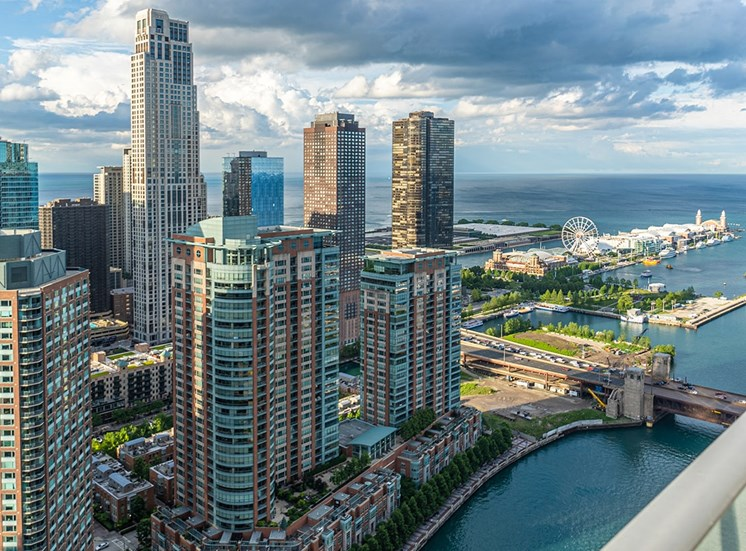 View of Navy Pier from the balcony of an apartment at Coast in Chicago