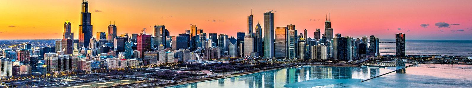 Sunset over the Chicago skyline