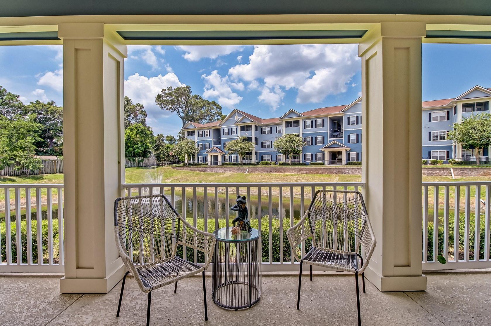 Patio at Magnolia Village Apartments in Jacksonville, FL