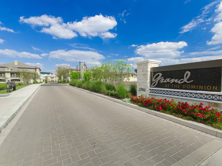 Welcoming Property Signage at Grand at the Dominion, San Antonio,Texas