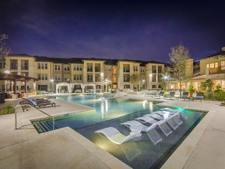 Resort Inspired Pool with Relaxing Tanning Ledge at the Dominion, San Antonio, TX