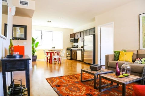 B3 Interior. Staged living, dining, and kitchen