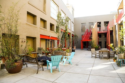 Bakery Lofts Courtyard Ground level view