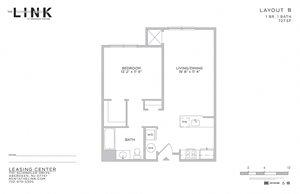 1 Bed 1 Bath Floor Plan at The Link at Aberdeen Station, Aberdeen, 07747