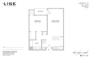 1 Bedroom 1 Bathroom Floor Plan at The Link at Aberdeen Station, Aberdeen, New Jersey