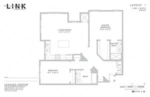 Layout I 2 Bed 2 Bath Floor Plan at The Link at Aberdeen Station, Aberdeen, 07747