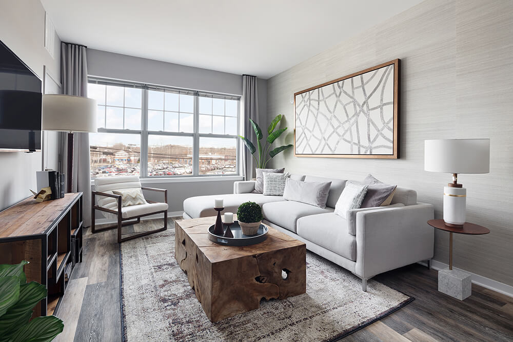 Modern Living Room at The Link at Aberdeen Station, New Jersey, 07747
