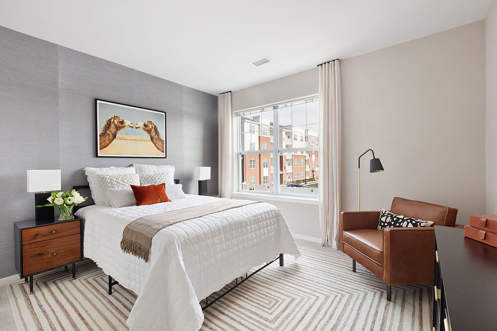 Bedroom With Expansive Windows at The Link at Aberdeen Station, Aberdeen, NJ