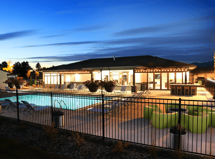 Community Clubhouse With Swimming Pool at Corso Apartments, Missoula, MT