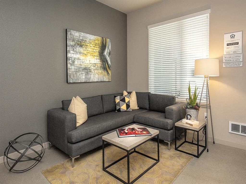 Living Room Brand New Apartments for Rent in Oakland, Ca | Mason at Hive Apartments Now Leasing
