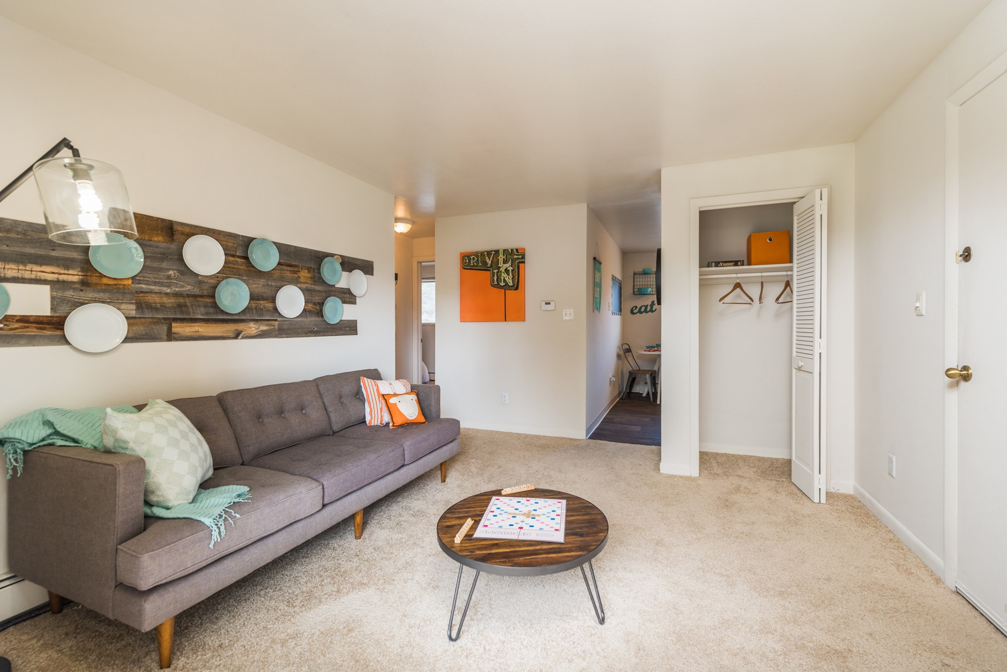 Living Room at Village Gardens Apartments in Fort Collins, CO