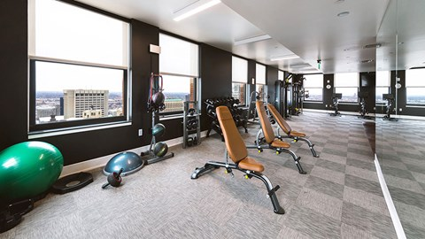 Free Weights In Gym at The Stott, Detroit, Michigan