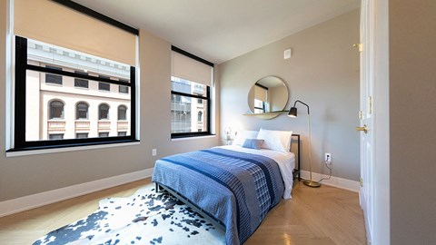 Beautiful Bright Bedroom With Wide Windows at The Stott, Detroit, MI