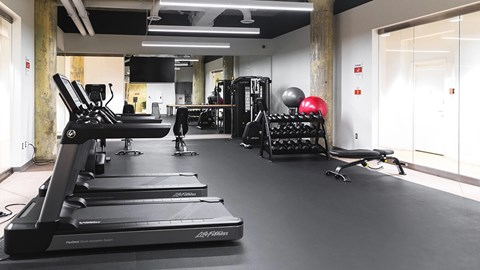 Fitness room at The Assembly, Detroit, Michigan