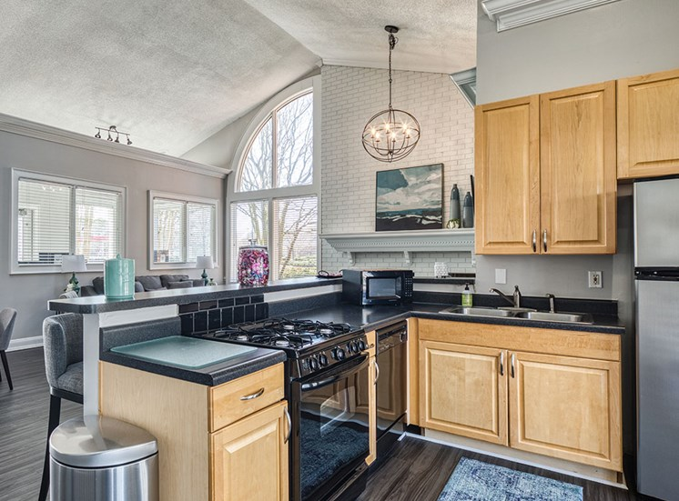 Kitchen at clubhouse at York County Apartments