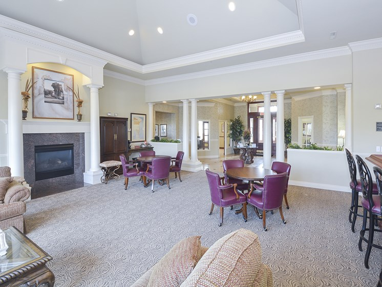 Spacious Clubhouse Lounge Area with Fireplace