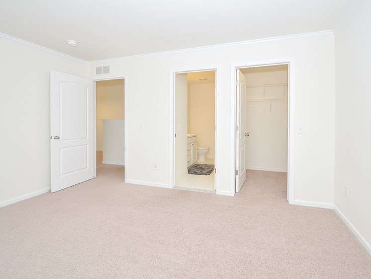 Spacious Carpeted Bedroom with Attached Bathroom and Walk-In Closet