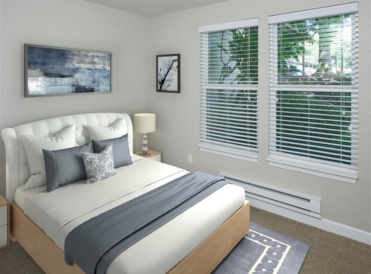 Master Bedroom with Decorative Blinds at Parkridge Apartments, Oregon, 97035