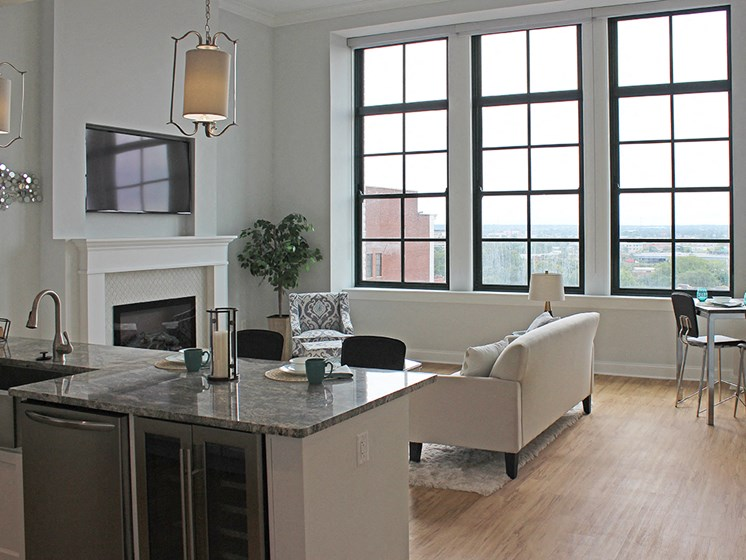 Luxury Vinyl Plank Flooring In Kitchen And Living Room at Residences at Halle, Cleveland