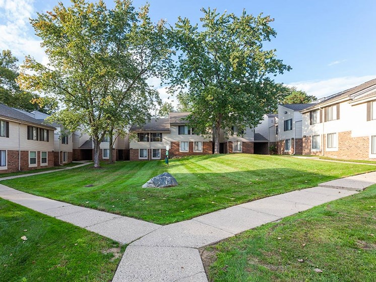 Beautiful Manicured Courtyards, at Northville Woods, Michigan
