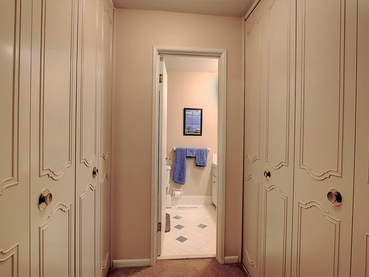 Image of hallway with large closet and entrance to bathroom