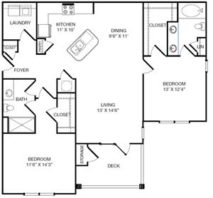 Harbor Creek Reimagine B Floor Plan 2 Bedroom 2 Bath