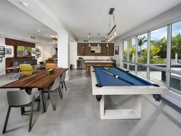 Clubhouse with Separate  Game Room at SofA Downtown Luxury Apartments, Delray Beach, FL 33483
