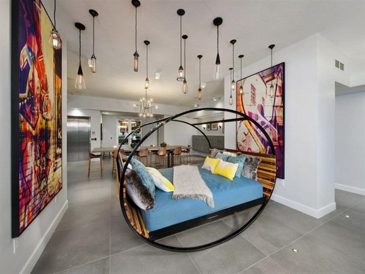 Clubhouse with Modern Relaxing Area at SofA Downtown Luxury Apartments, Delray Beach, FL