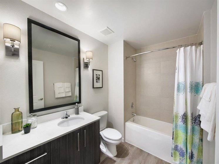 Down Lighting in The Baths at SofA Downtown Luxury Apartments, Delray Beach,Florida