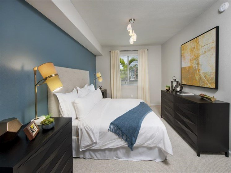 Master Bedroom at SofA Downtown Luxury Apartments, Delray Beach