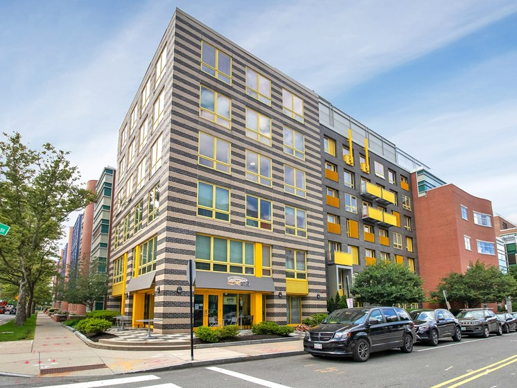 Kendall Crossing exterior building photo shows modern design