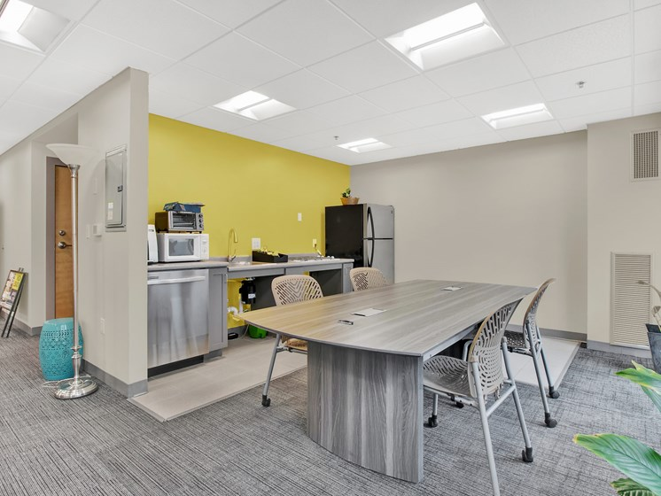 Community kitchenette and workspace