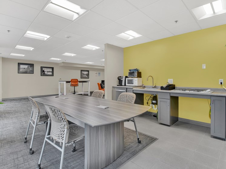 Community room kitchenette and work space