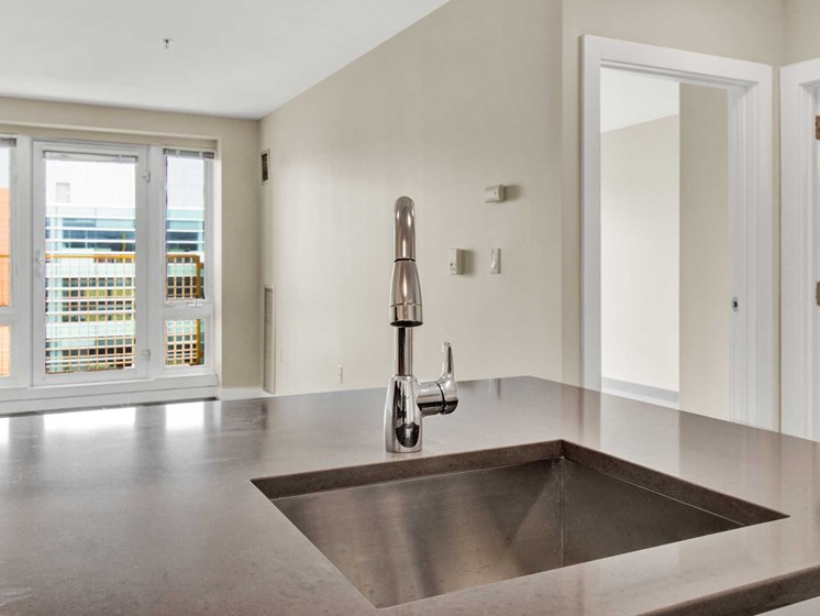 View from the sink features large windows and open space