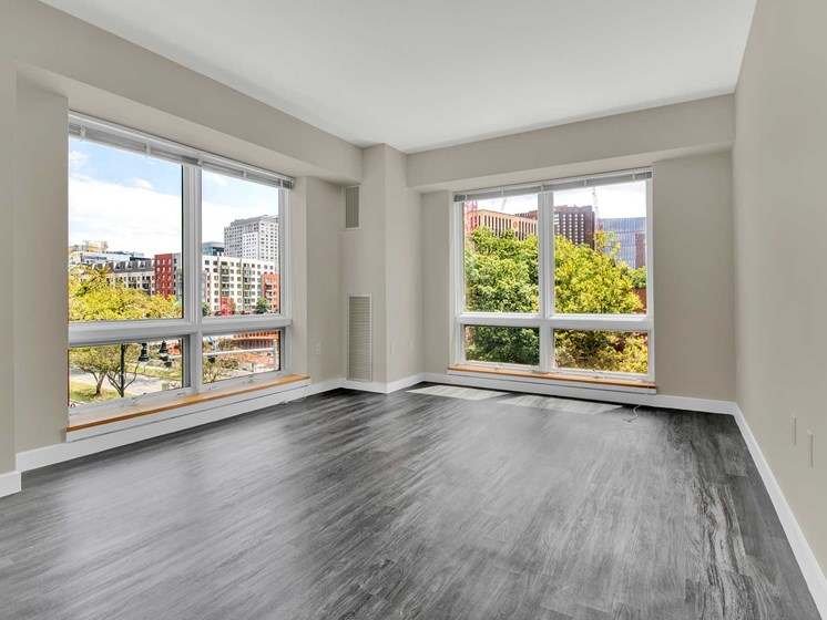modern plank flooring and oversized windows