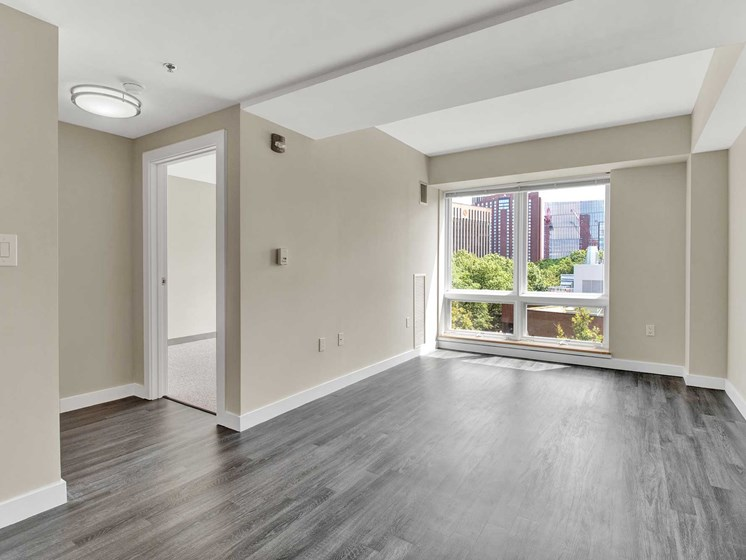 Unique floor plans, oversized windows and modern plank flooring