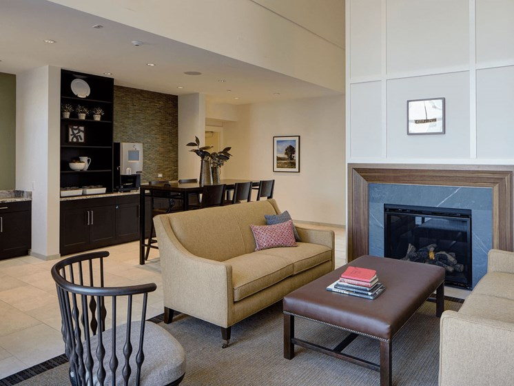 Coffee Bar and Hospitality Station at Courthouse Square Apartments, Wheaton, Illinois